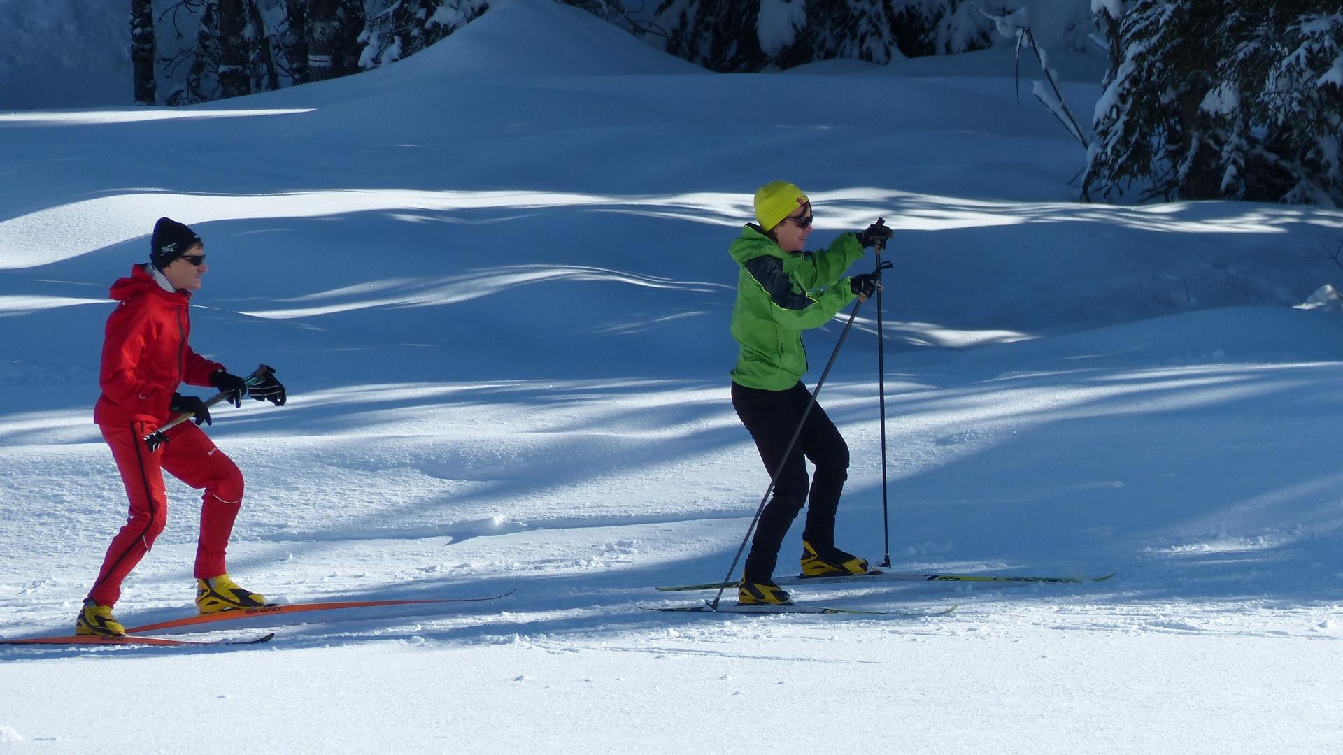 Skieurs Plateau des Glières