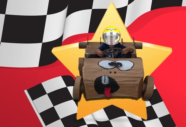 Course de karts en carton