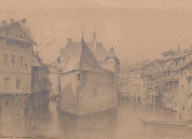 Annecy, Palais de l'Ile vu par Gabriel Loppé,1854