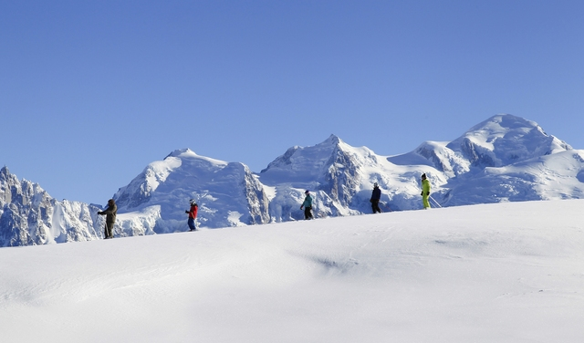 Flaine ski face au Mont Blanc