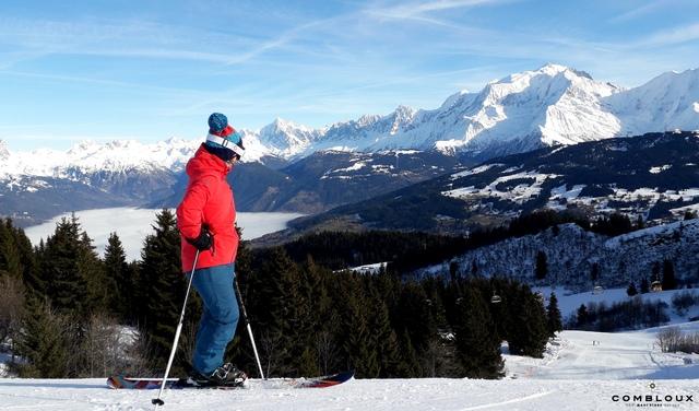 Ski avec vue sur le Mont-Blanc