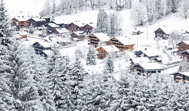 Chalets sous la neige