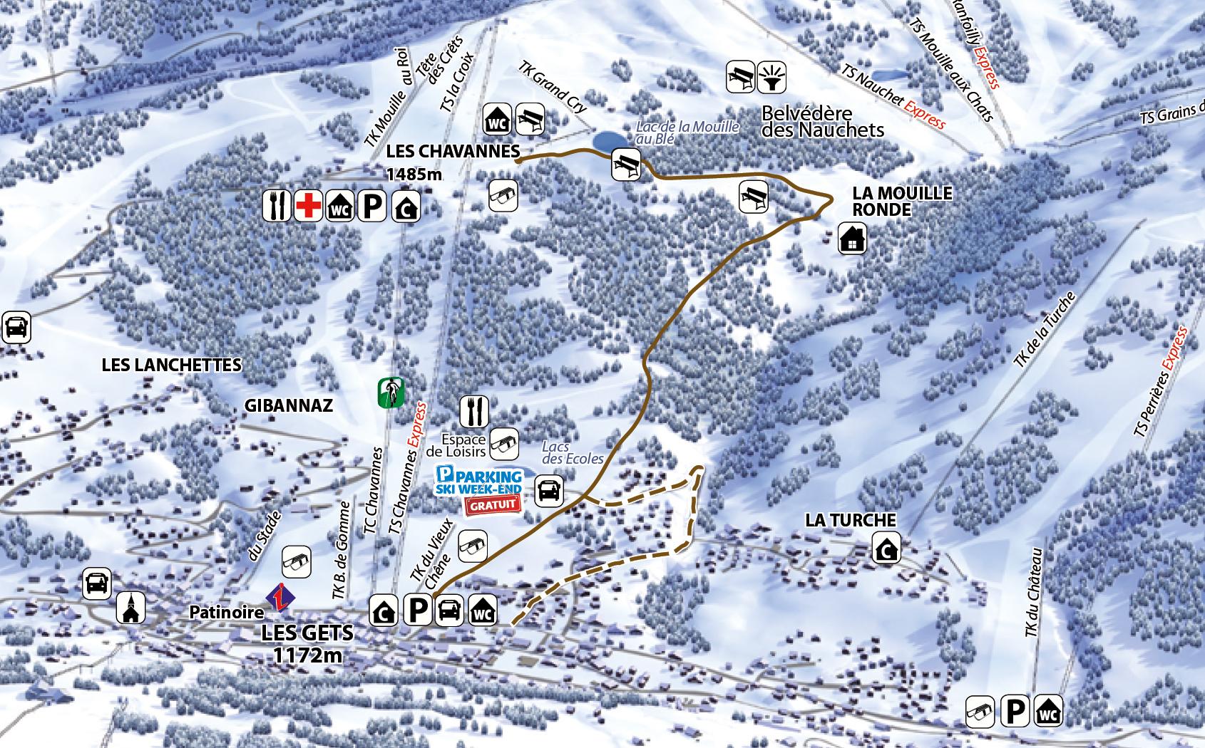 Les Gets village via la Mouille Ronde in Les Gets French Alps